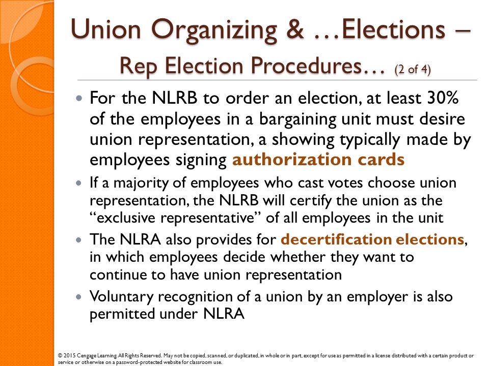 Union Organizing & …Elections – Rep Election Procedures… (2 of 4)