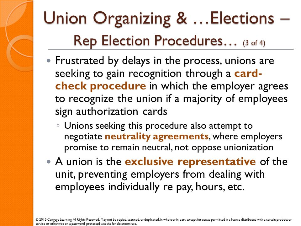Union Organizing & …Elections – Rep Election Procedures… (3 of 4)