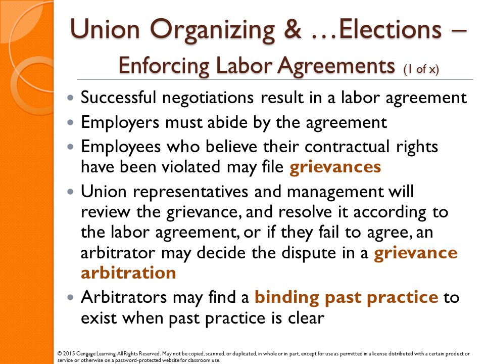 Union Organizing & …Elections – Enforcing Labor Agreements (1 of x)