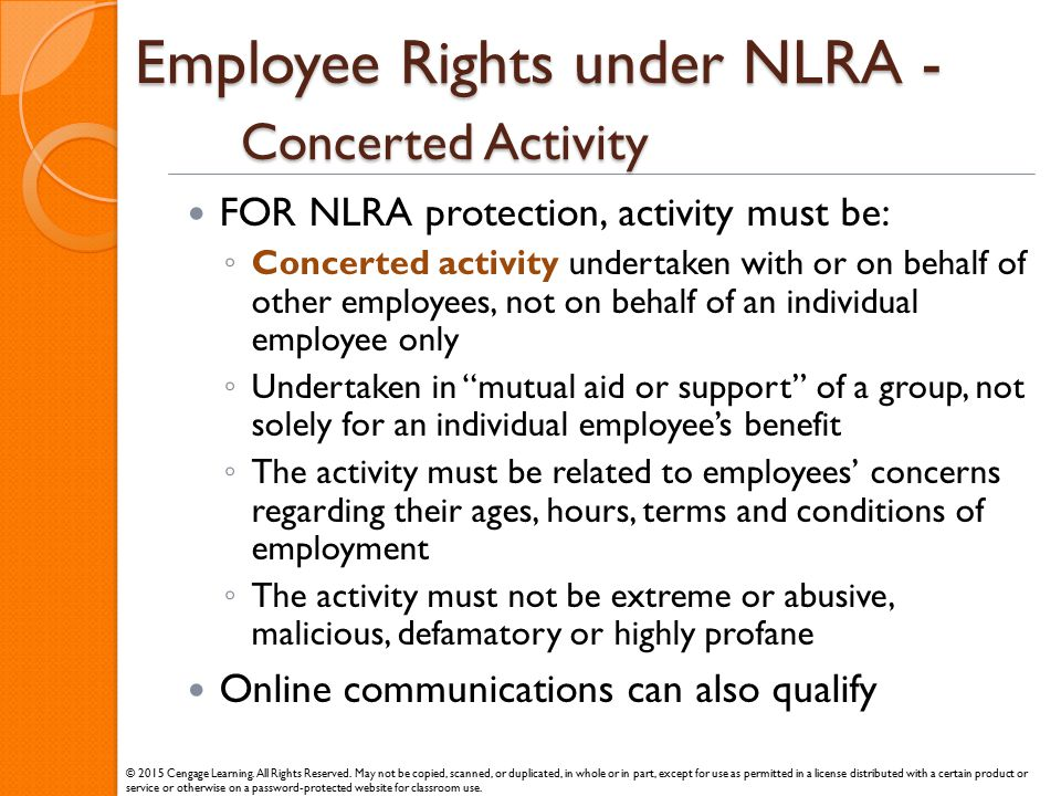 Employee Rights under NLRA - Concerted Activity