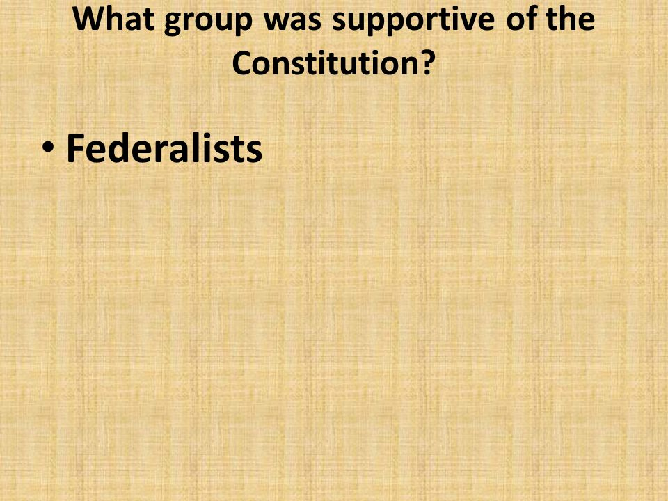 What group was supportive of the Constitution