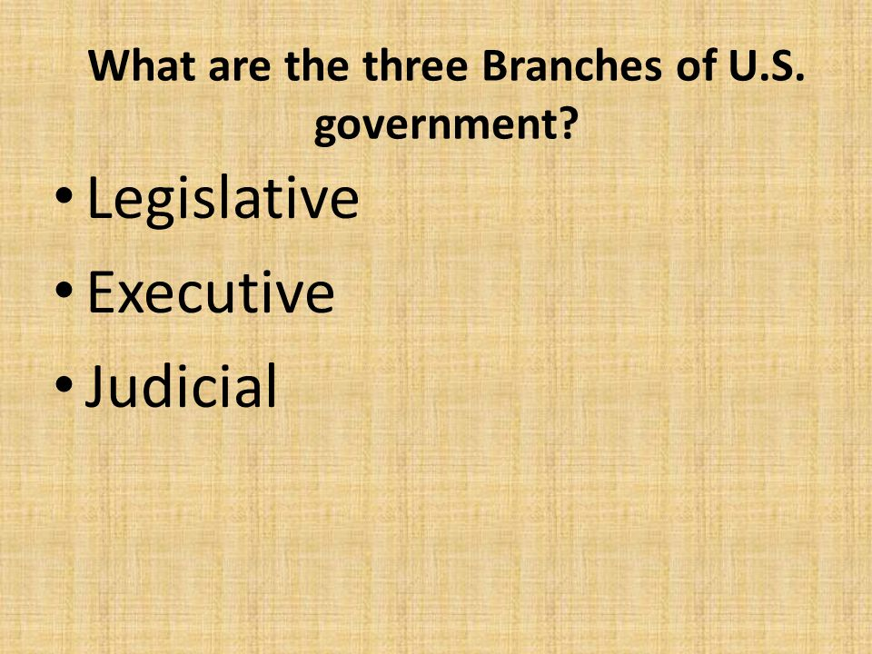 What are the three Branches of U.S. government
