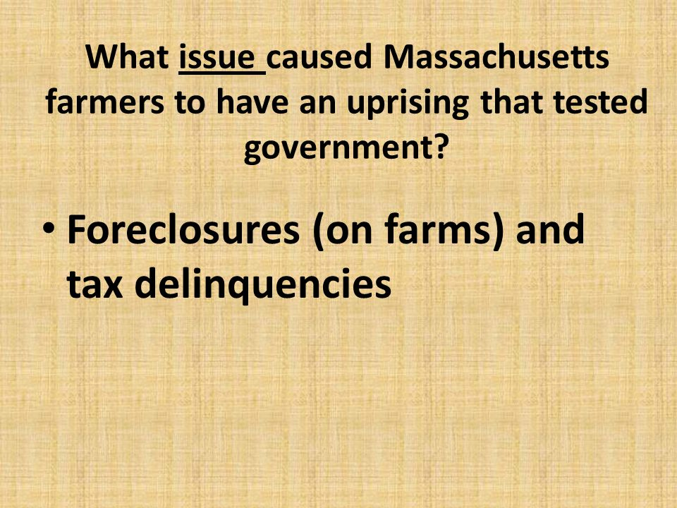 Foreclosures (on farms) and tax delinquencies