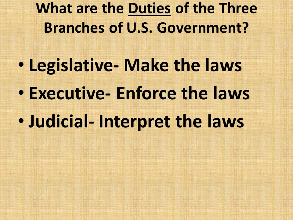 What are the Duties of the Three Branches of U.S. Government