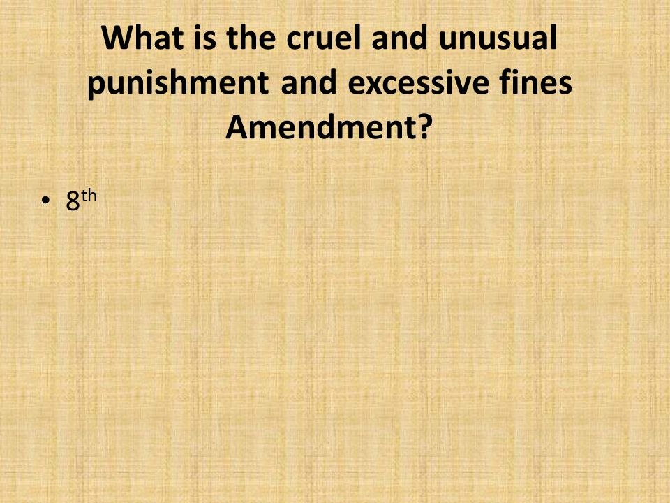 What is the cruel and unusual punishment and excessive fines Amendment