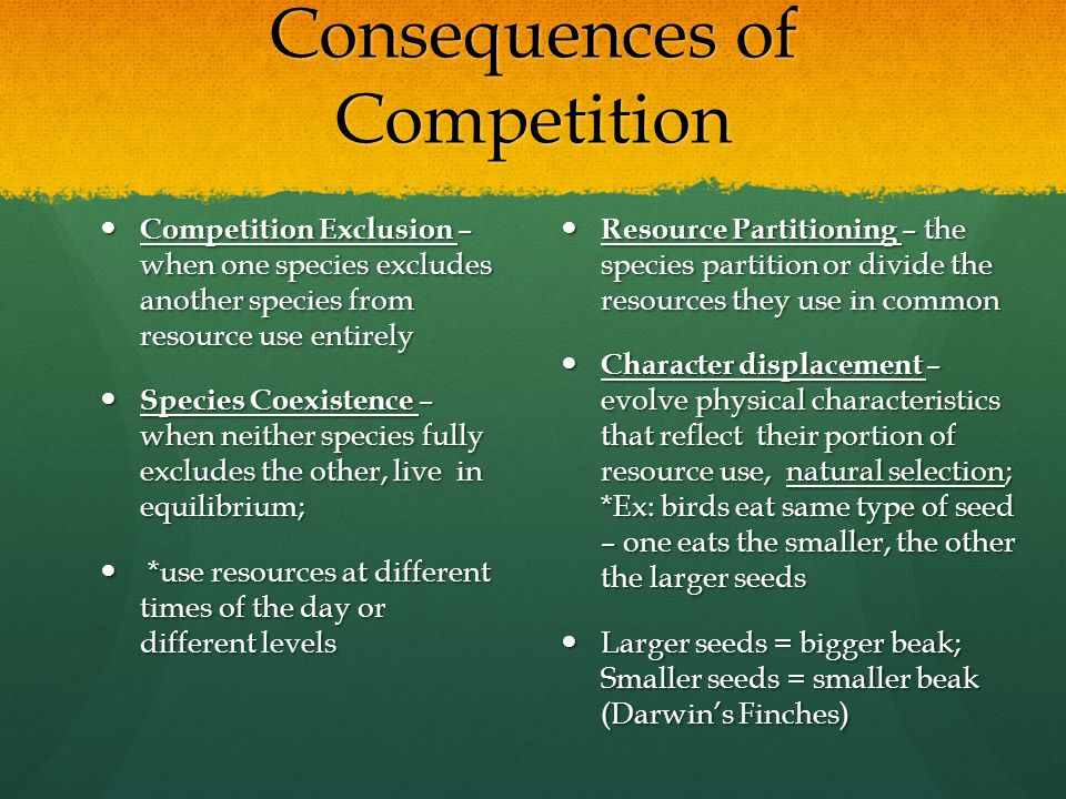 Consequences of Competition