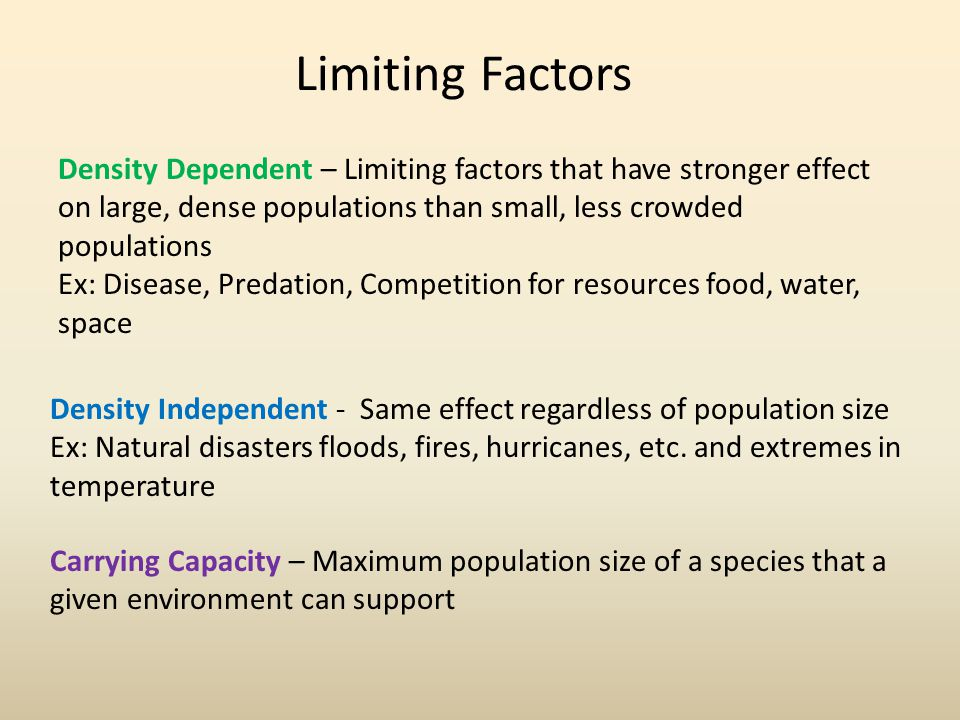 Limiting Factors Density Dependent – Limiting factors that have stronger effect on large, dense populations than small, less crowded populations.