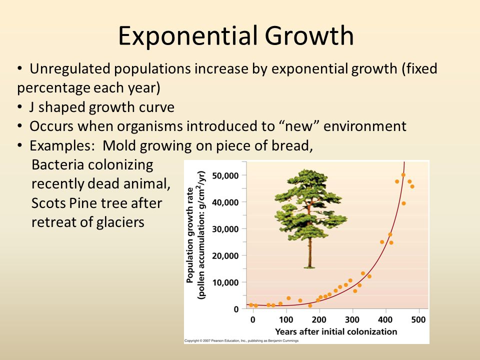 Exponential Growth Unregulated populations increase by exponential growth (fixed percentage each year)