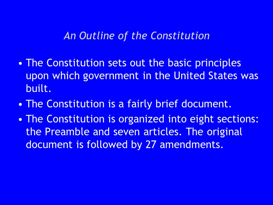 outline of the american constitution
