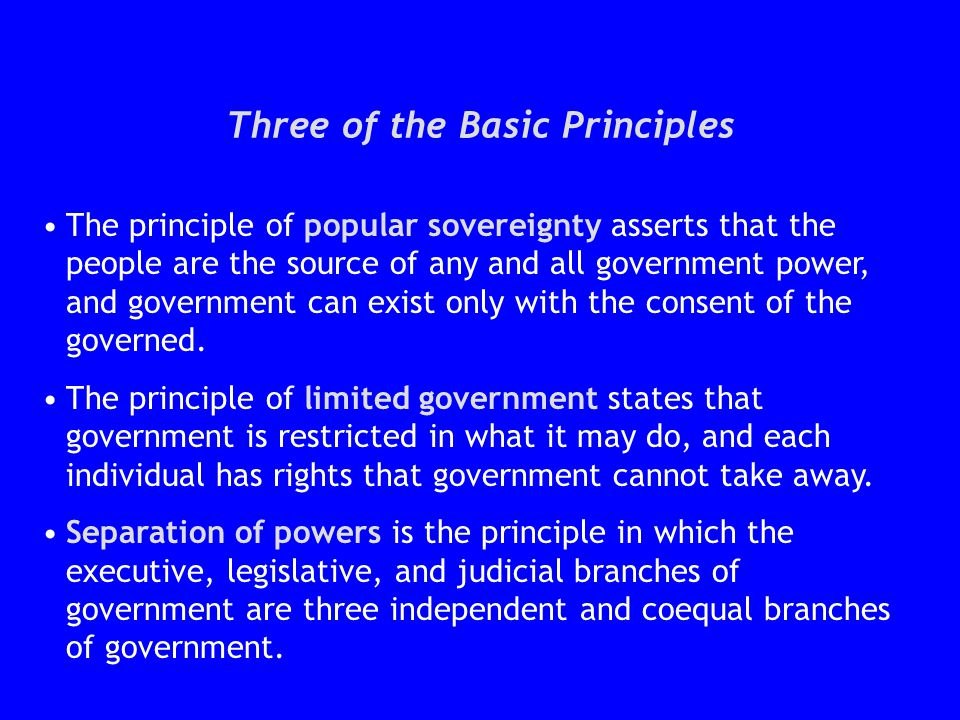 Three of the Basic Principles