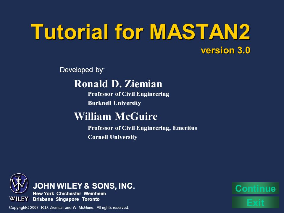 Tutorial for MASTAN2 version 3.0