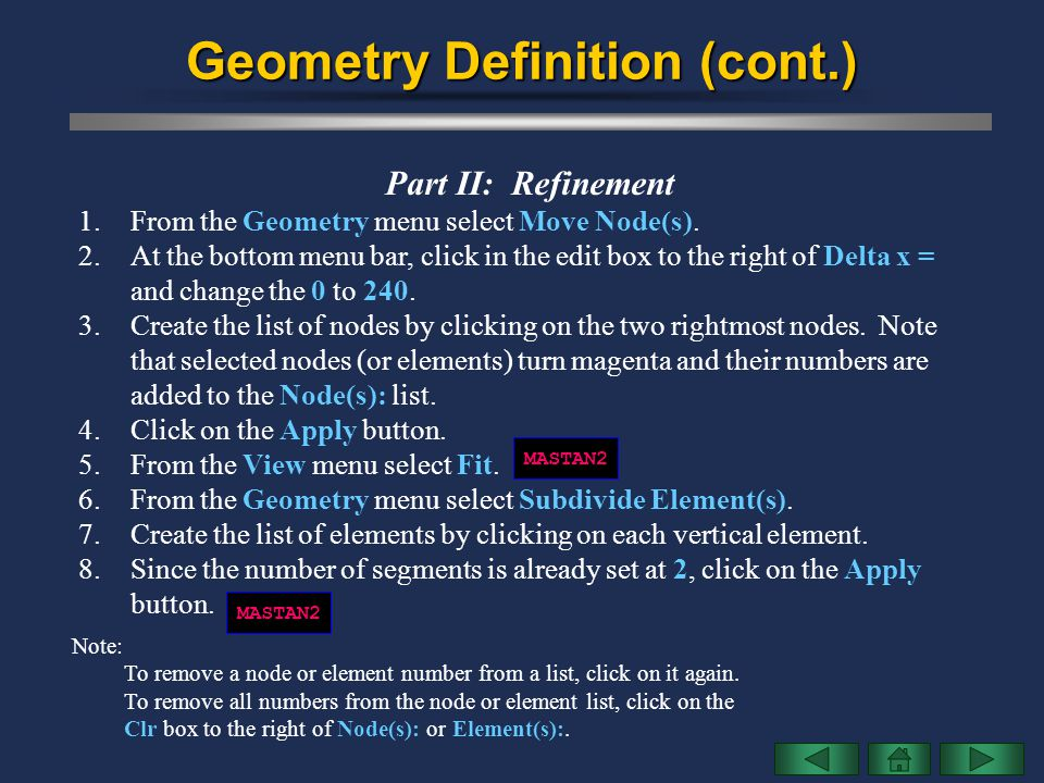 Geometry Definition (cont.)