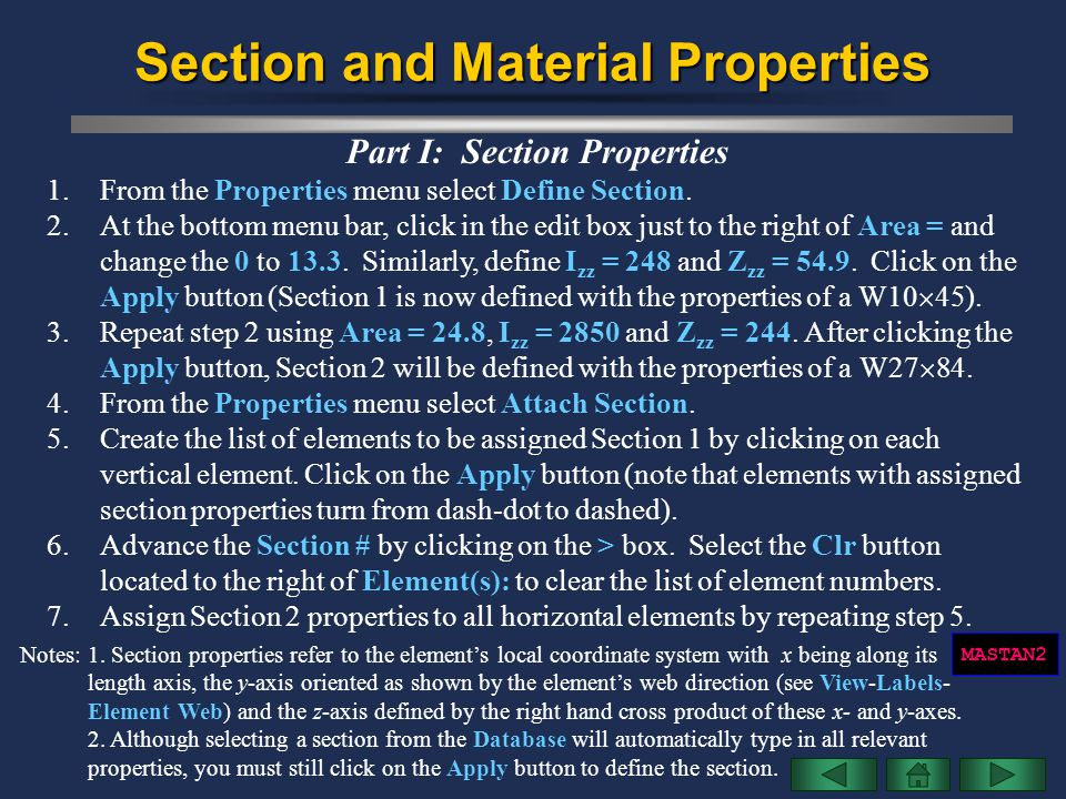 Section and Material Properties