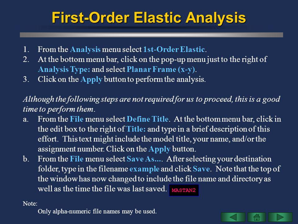 First-Order Elastic Analysis