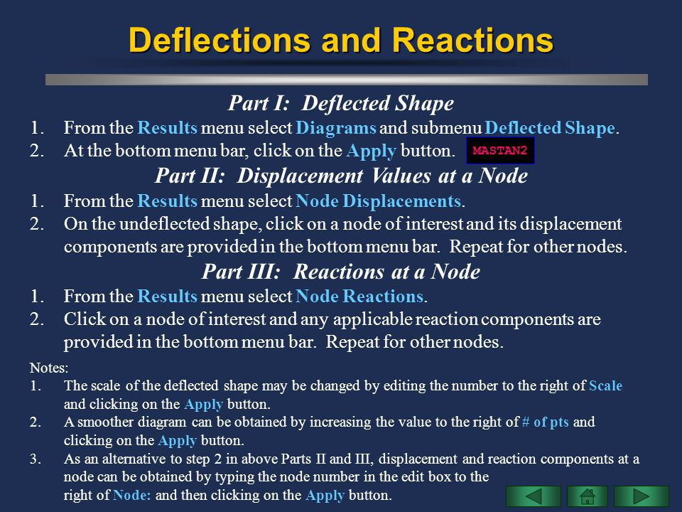 Deflections and Reactions