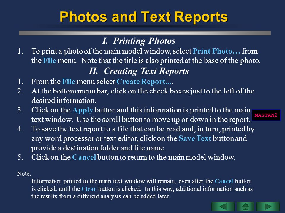 Photos and Text Reports