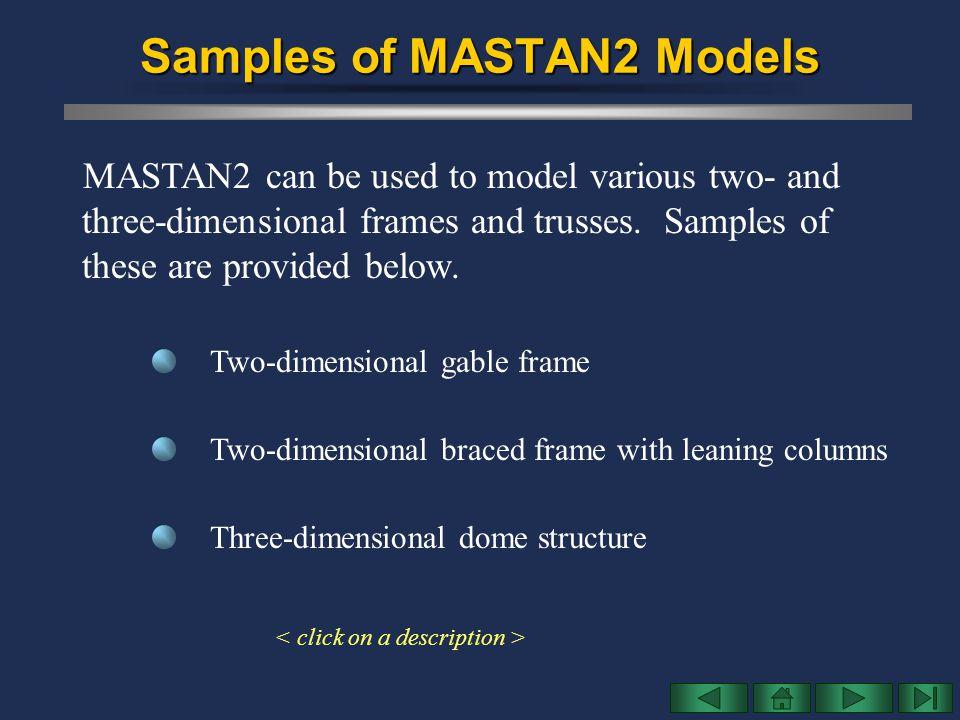 Samples of MASTAN2 Models