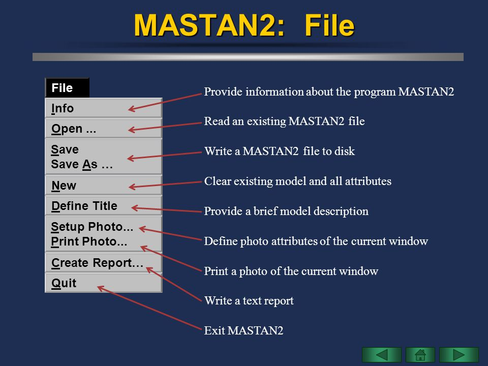 MASTAN2: File File Provide information about the program MASTAN2 Info