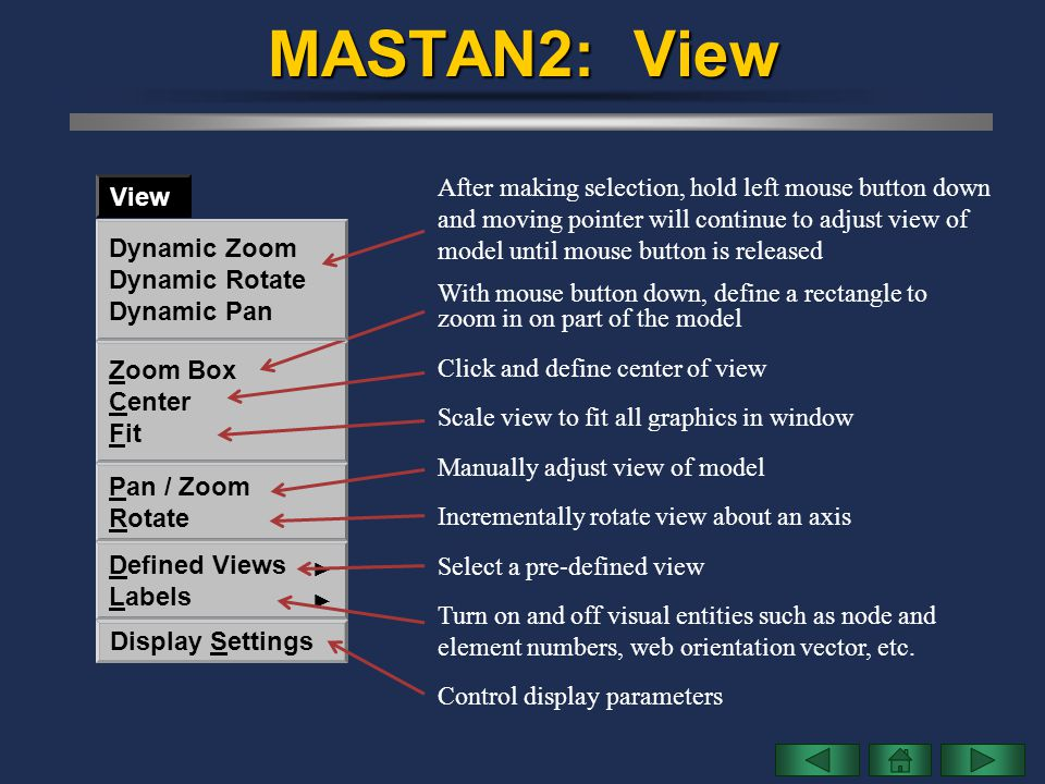 MASTAN2: View After making selection, hold left mouse button down View