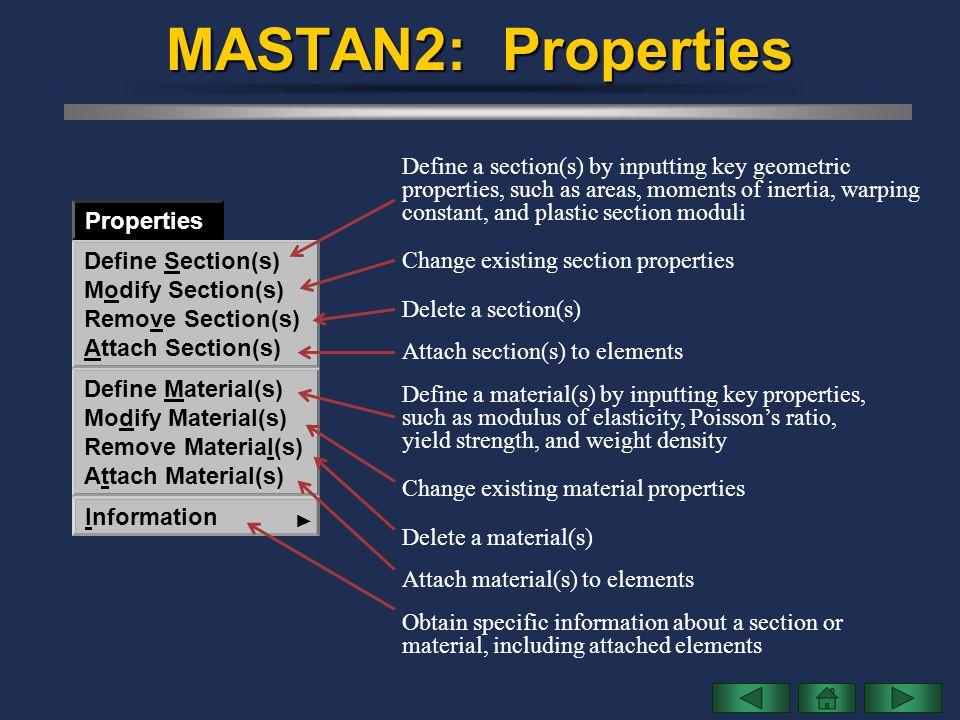 MASTAN2: Properties