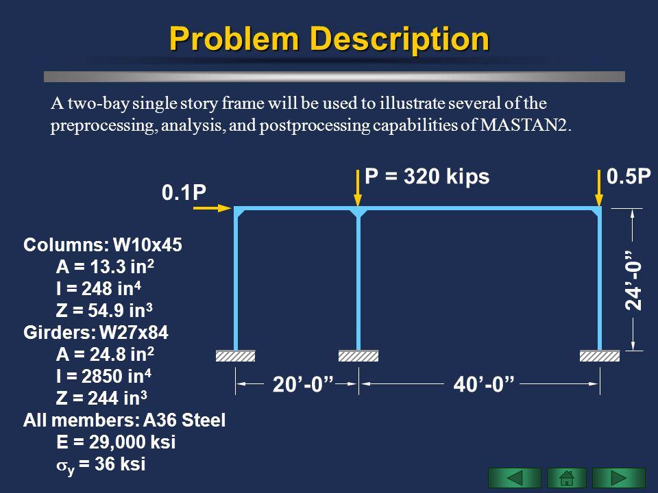 Problem Description P = 320 kips 0.5P 0.1P 24'-0 20'-0 40'-0