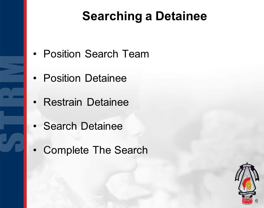 Searching a Detainee Position Search Team Position Detainee