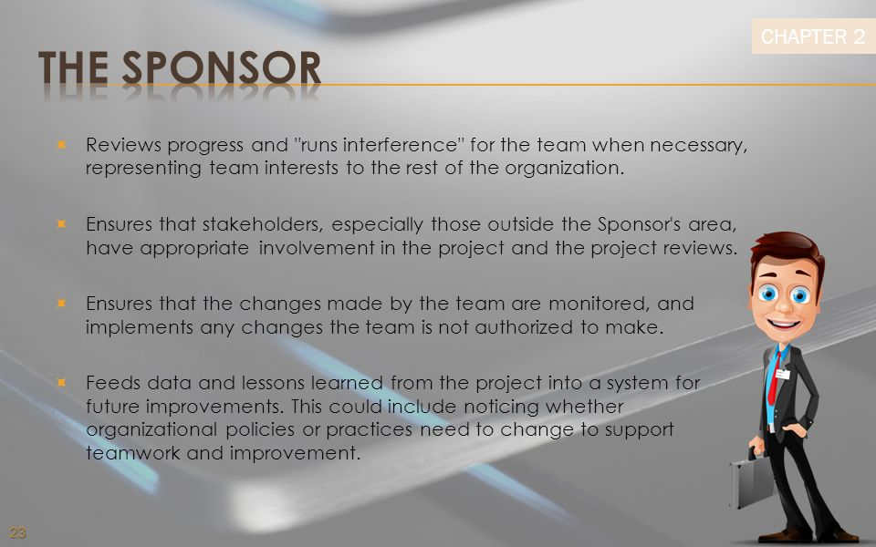 THE SPONSOR Reviews progress and runs interference for the team when necessary, representing team interests to the rest of the organization.