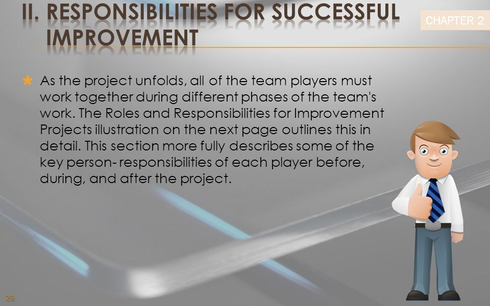 II. RESPONSIBILITIES FOR SUCCESSFUL IMPROVEMENT