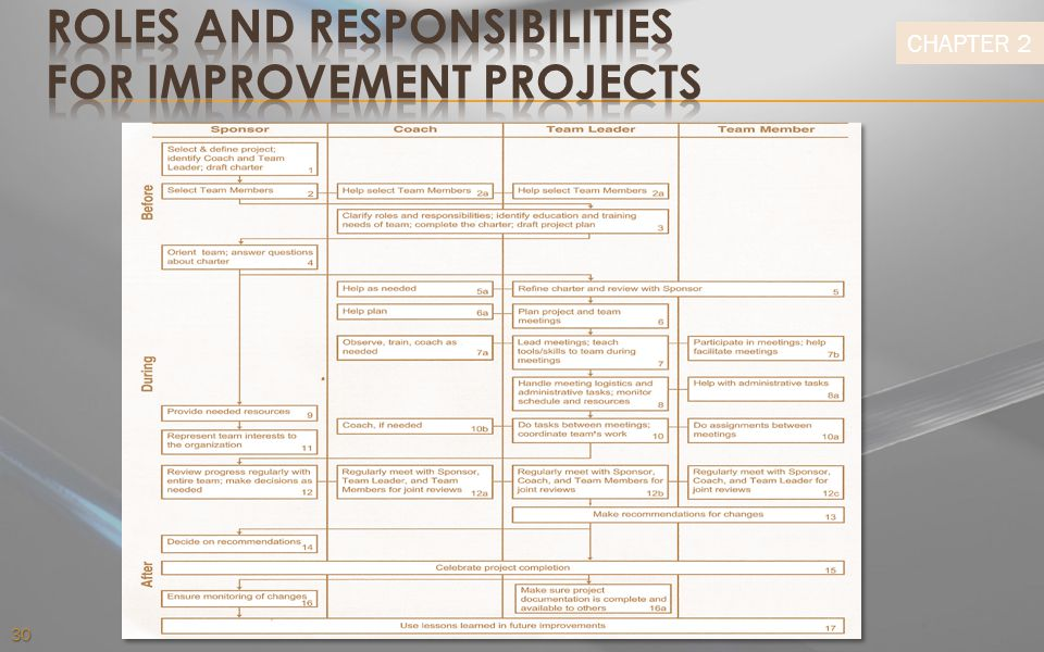 Roles and Responsibilities for Improvement Projects