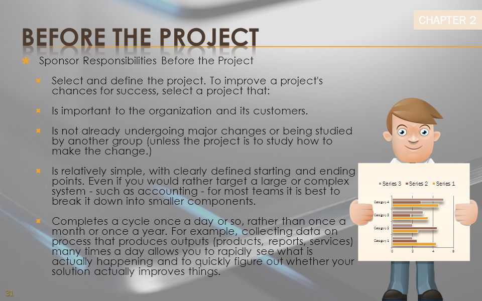 BEFORE THE PROJECT Sponsor Responsibilities Before the Project