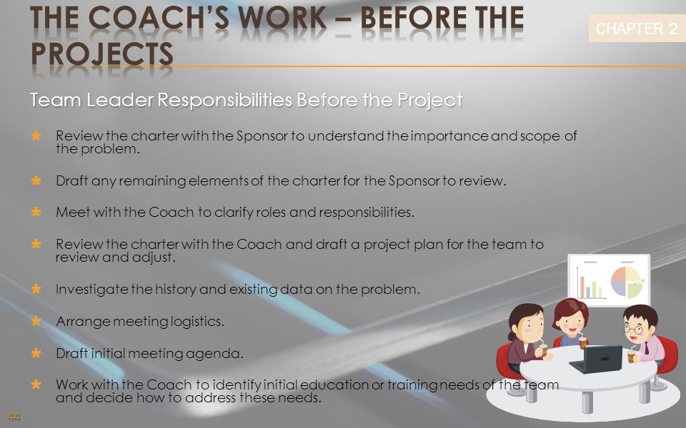 THE COACH'S WORK – before the projects