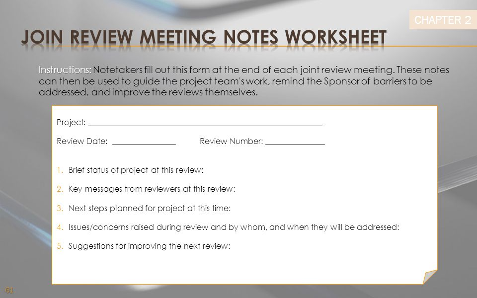 Join Review Meeting Notes Worksheet