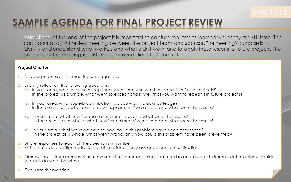 Sample Agenda for Final Project Review