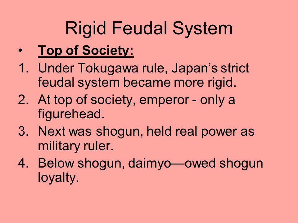 Rigid Feudal System Top of Society: