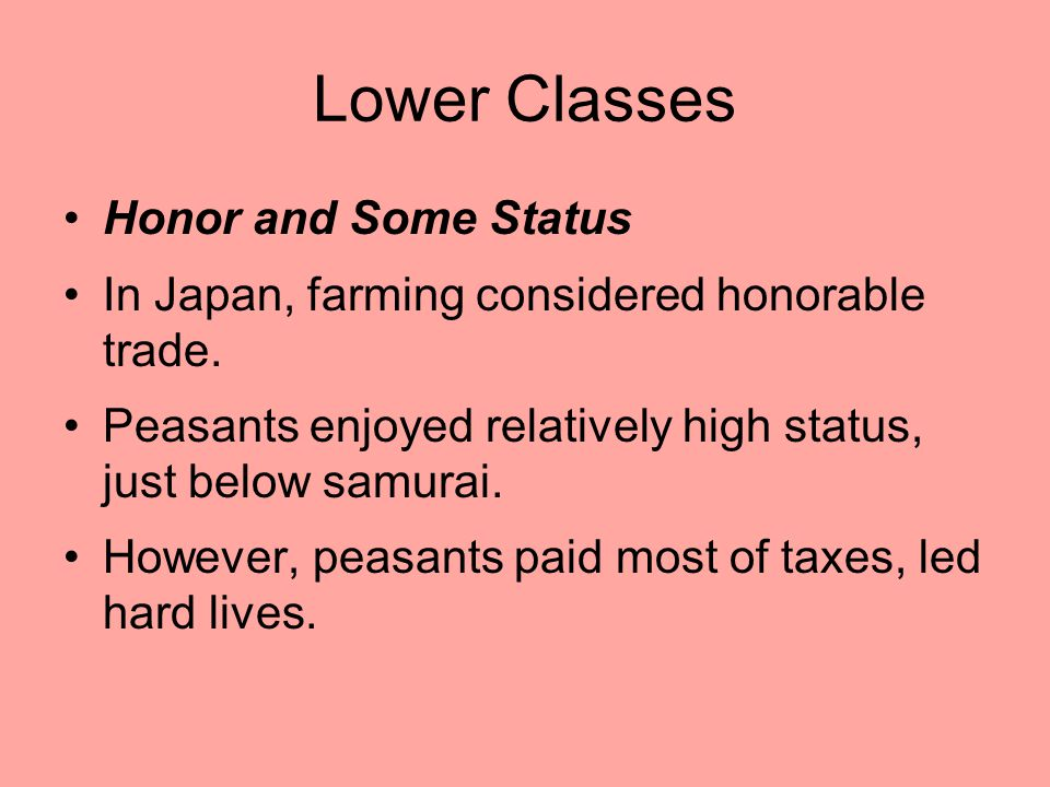 Lower Classes Honor and Some Status
