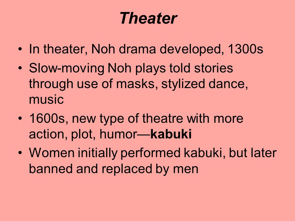 Theater In theater, Noh drama developed, 1300s