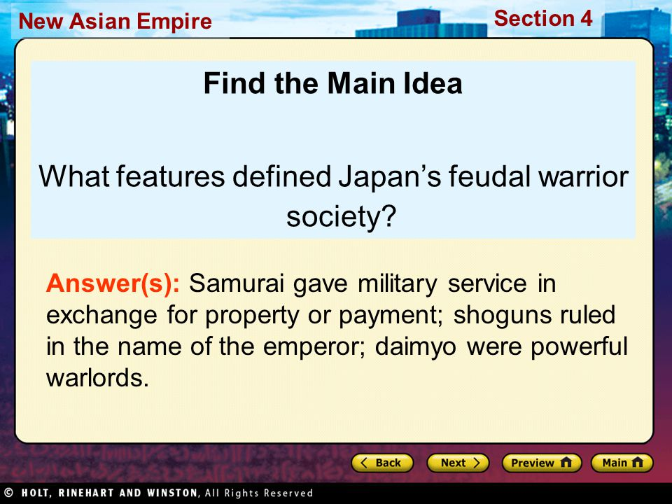 What features defined Japan's feudal warrior society