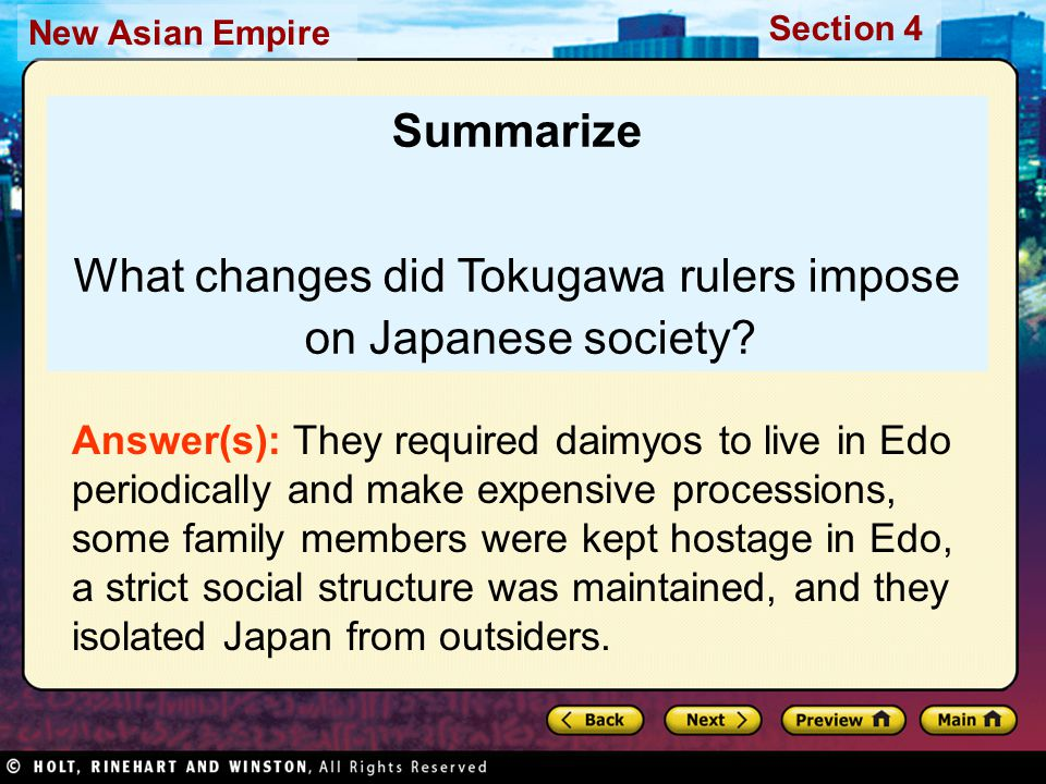 What changes did Tokugawa rulers impose on Japanese society