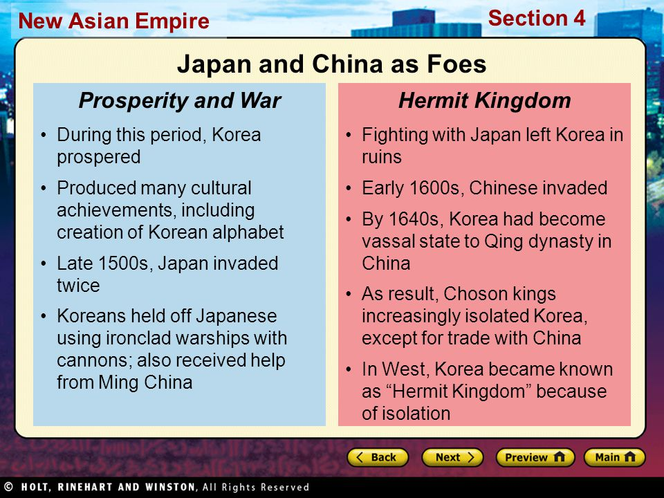 Japan and China as Foes Prosperity and War Hermit Kingdom