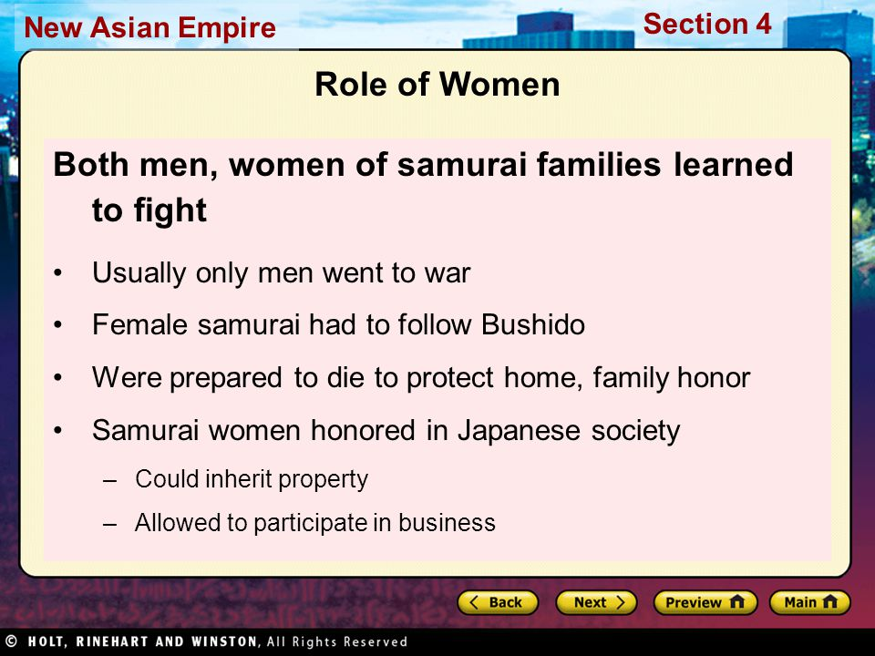 Both men, women of samurai families learned to fight