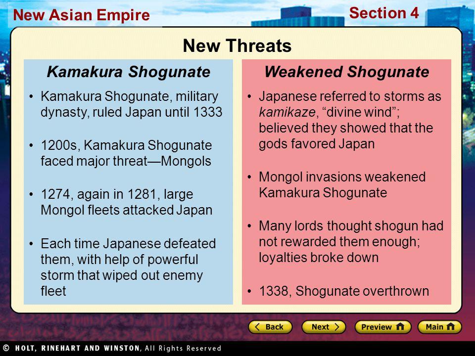 New Threats Kamakura Shogunate Weakened Shogunate