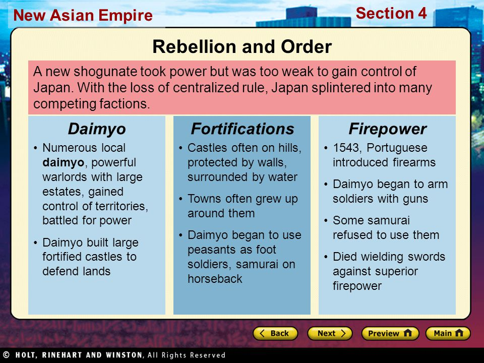 Rebellion and Order Daimyo Fortifications Firepower