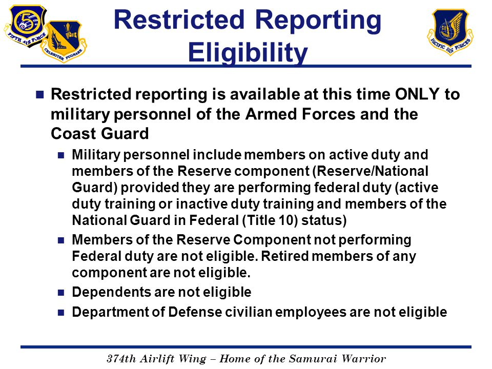 Restricted Reporting Eligibility