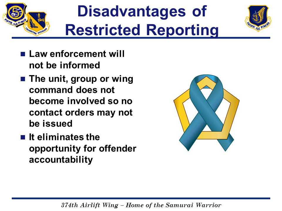Disadvantages of Restricted Reporting