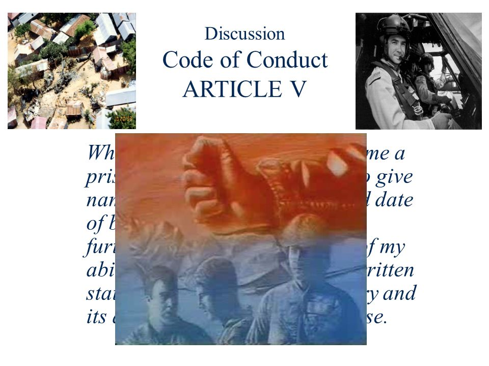 Discussion Code of Conduct ARTICLE V