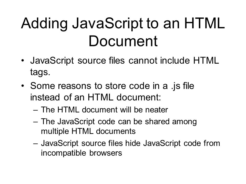 Adding JavaScript to an HTML Document