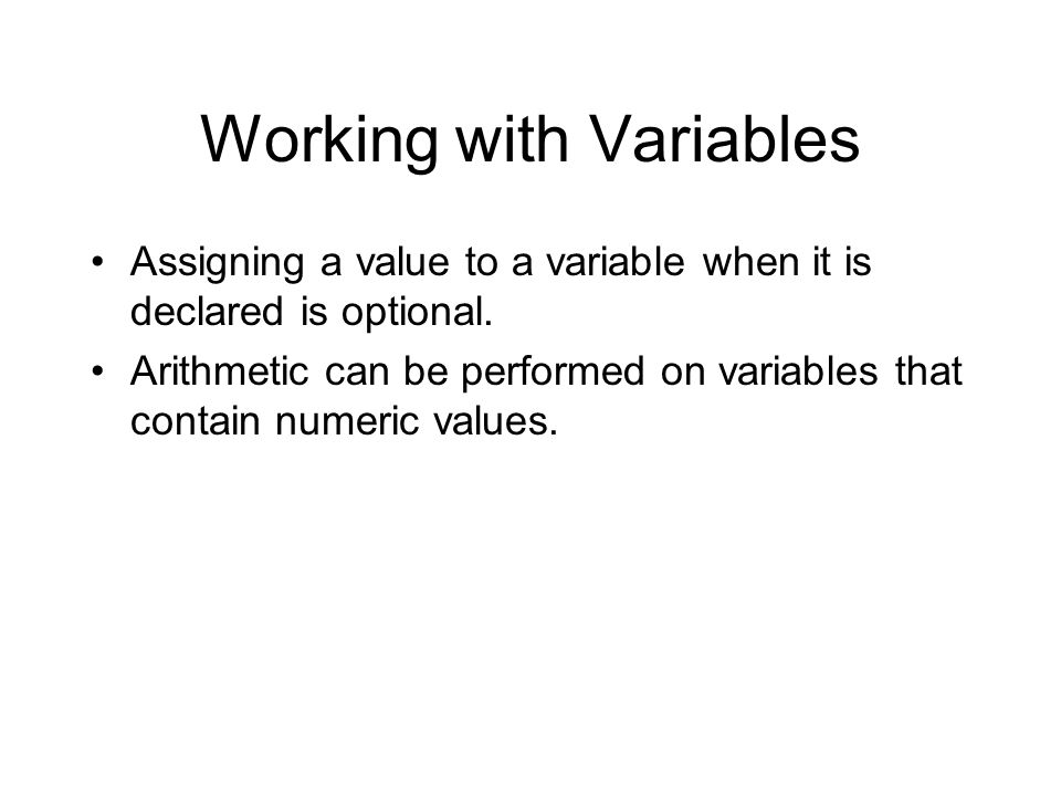 Working with Variables
