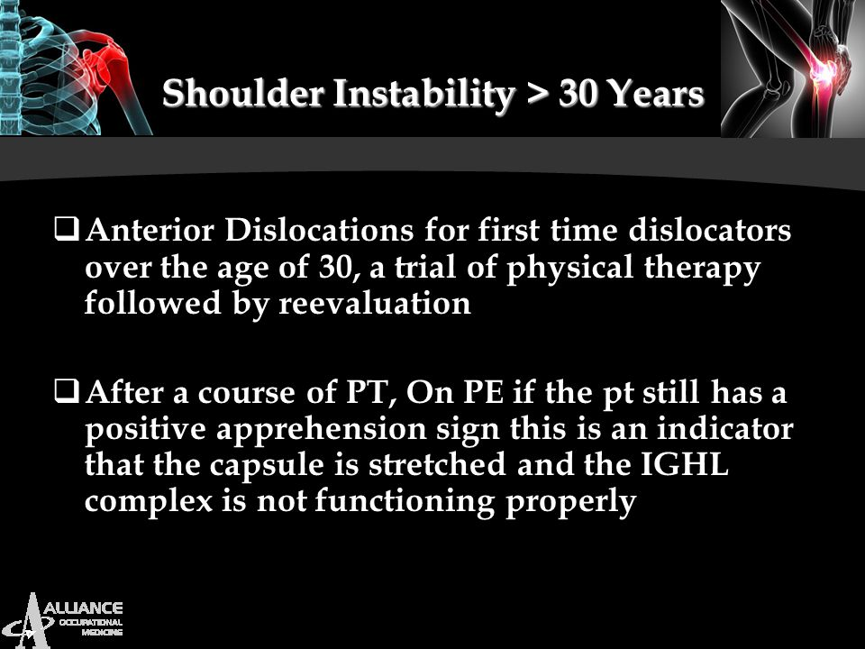 Shoulder Instability > 30 Years