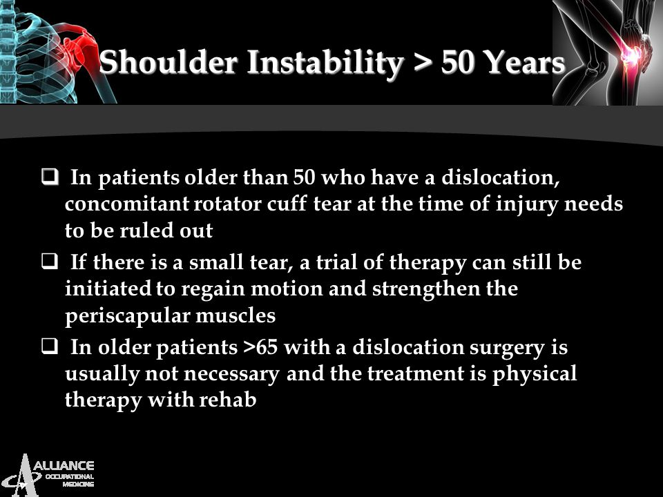 Shoulder Instability > 50 Years