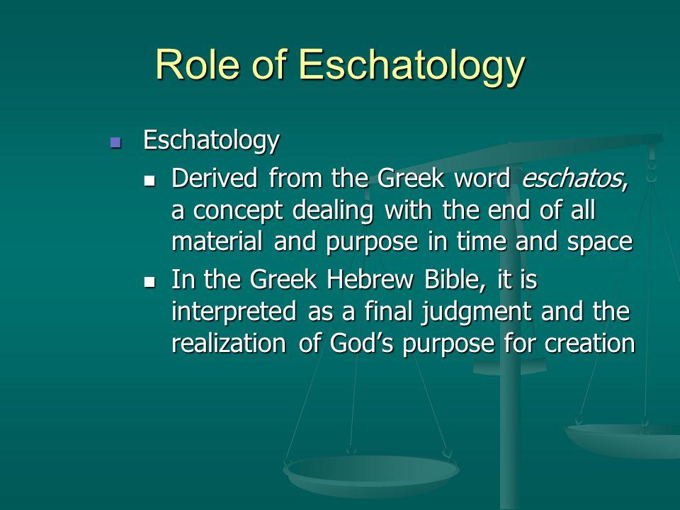 Role of Eschatology Eschatology